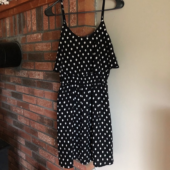 Elle Dresses & Skirts - Black & White Polka-dot Frill Top Sundress